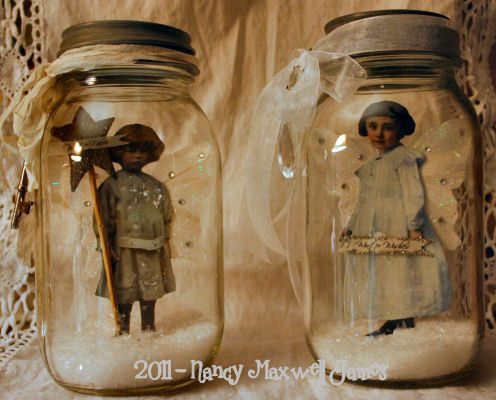 create winter scenes using old photo figures