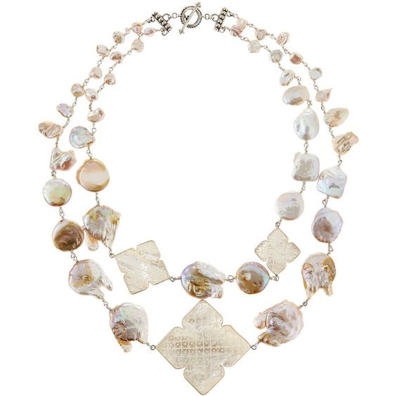 Stephen Dweck Two-Strand Carved Pearl Necklace ($537) ❤ liked on Polyvore featuring jewelry, necklaces, white, clover jewelry, white pearl necklace, white necklace, pearl jewellery and strand necklace