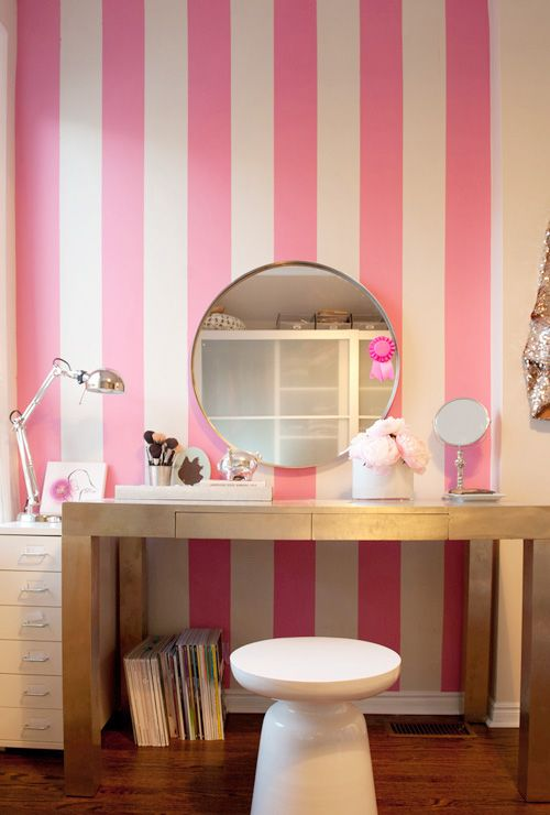 décor idea: pink stripes by the vanity for a feminine, boutique-y vibe