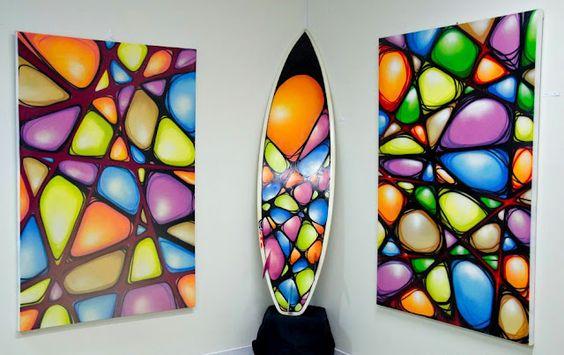 aerosol canvas and surf board