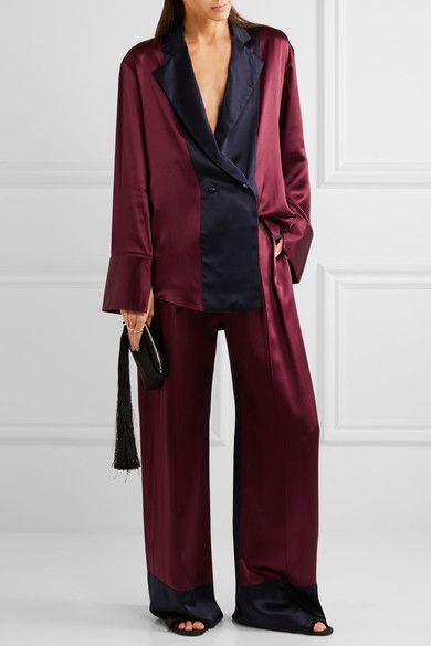 Michael Lo Sordo - Two-tone Silk-satin Wide-leg Pants - Merlot - UK14