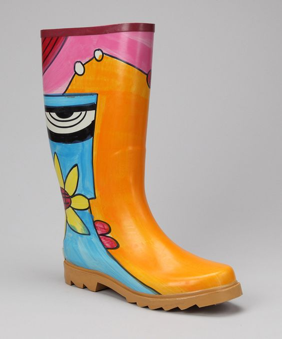 Corky's Footwear Teal Abstract Elite Painted Rain Boot