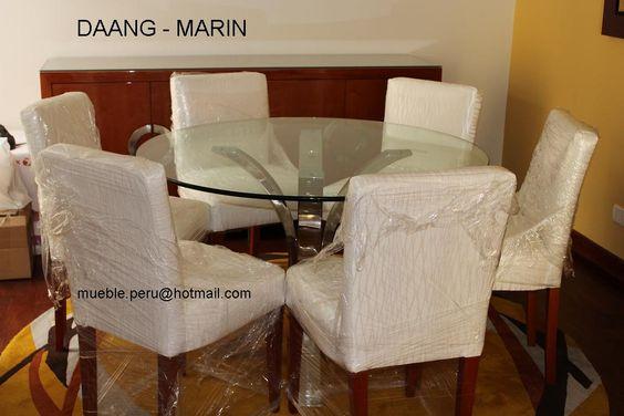 Hermoso comedor daang marin con moderna mesa de acero y for Sillas comedor elegantes