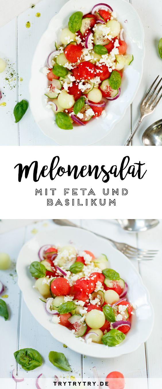 Der perfekte Salat für den Sommer: Melonensalat mit Feta und Basilikum! Garantiert ein leckeres Rezept