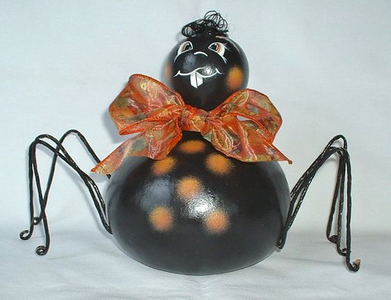 Halloween Spider Gourd  Hand Painted by FromGramsHouse on Etsy, $25.00