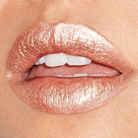 metallic rose gold lip