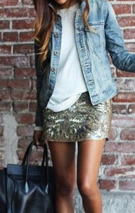 casual and elegant - denim jacket + white tee + sequin skirt. love when you mix things that seemingly shouldnt go together like this.                                                                                                                                                      More