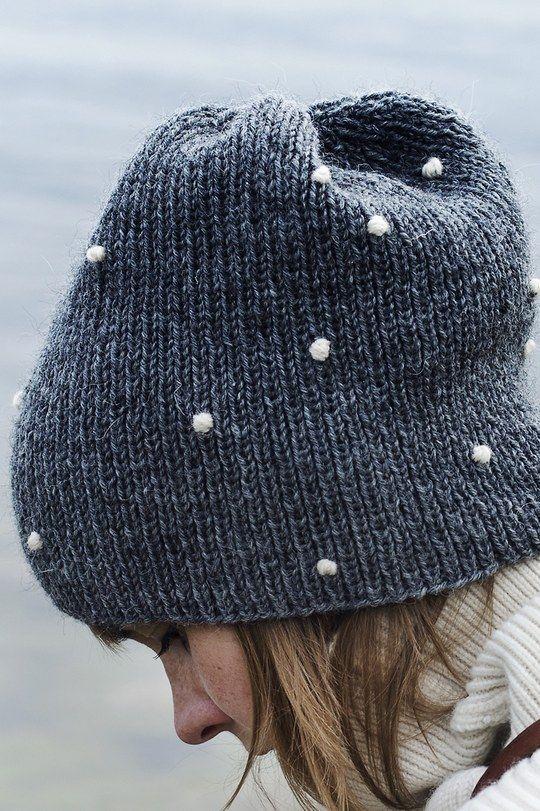 An adult knit beanie Lumipallo (Snowball) from yarn Novita 7 Veljesta Novit...