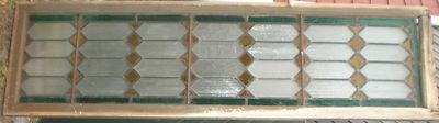 """Stained glass transom window - nearly 85"""" long"""