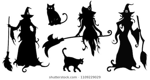 Big Vector Set With Black Silhouettes Of Witches And Cats On A White Background Illustration Halloween Witch Silhouette Halloween Silhouettes Halloween Images