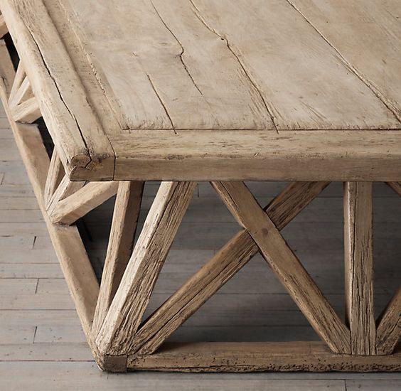 Timber trestle door coffee table restoration hardware for Coffee tables restoration hardware