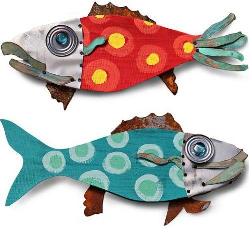 Recycled Outdoor Fish Wall Art: http://www.completely-coastal.com/2016/06/coastal-outdoor-wall-art-decor.html