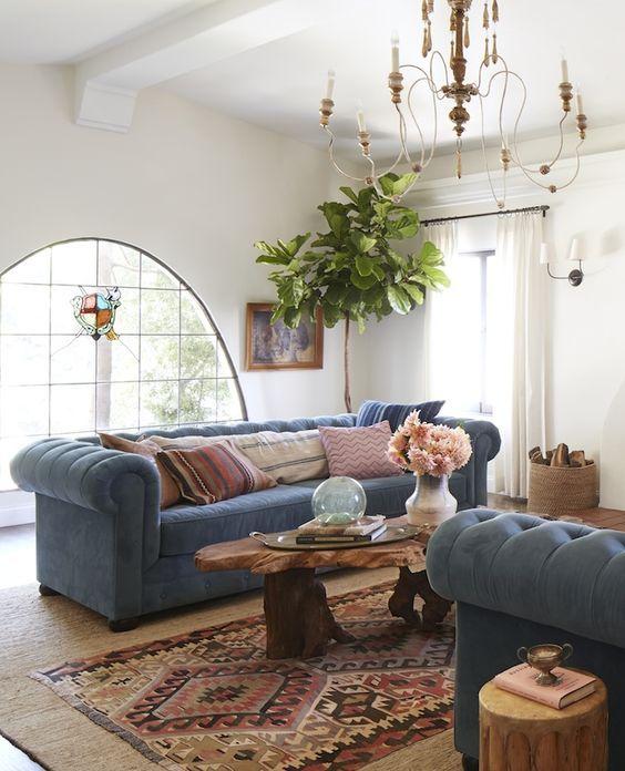California Eclectic; effortless decor; Anthropologie style home; blue velvet sofa;