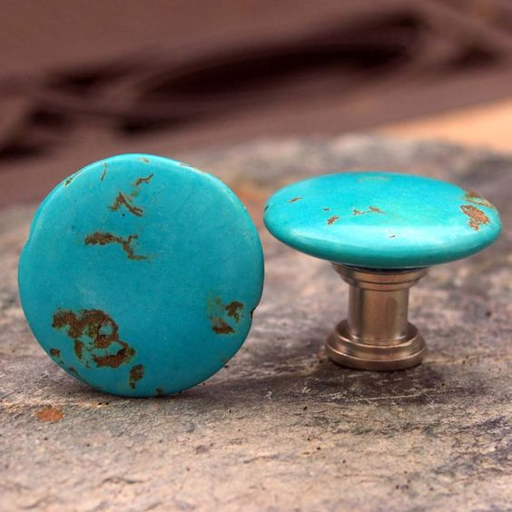 Turquoise knobs set of 2 stone cabinet knobs or pulls for Turquoise cabinet pulls