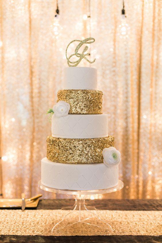 gold glitter wedding cake | Amanda Watson