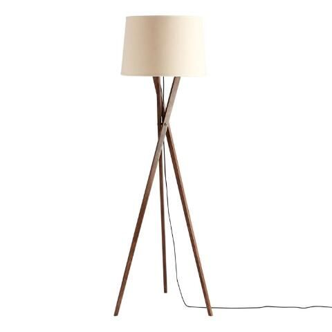 Walnut Wood Tripod Austin Floor Lamp Base In 2020 Floor Lamp