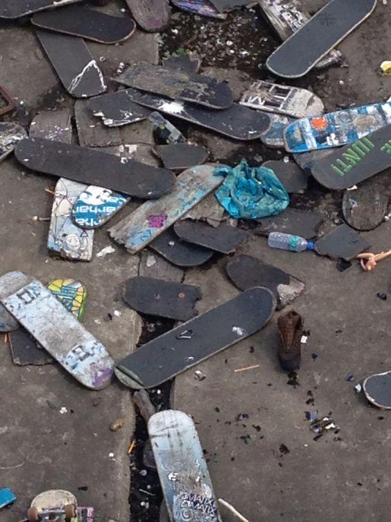 Skateboard scrap heap, London
