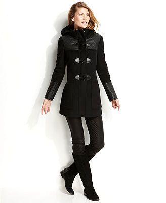 Calvin Klein Hooded Faux-Leather-Trim Duffle Coat