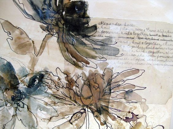 Drawing - Mandy Pattullo - convey flowers using ink and neutral inks/watercolour colour only, idea for da Vinci assignment