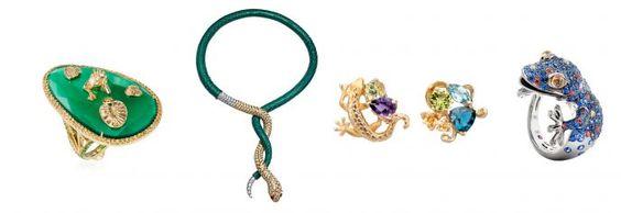 L-R: Pond ring, Maria Kovadi; Cerastes bracelet, Jacob & Co.; Gecko earrings, Carrera y Carrera; Lizard ring, Roberto Coin