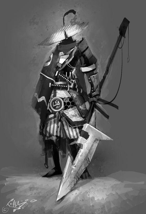 Cool Character Design, Samurai. #characterdesign #conceptart [http://www.pinterest.com/alfredchong/]: