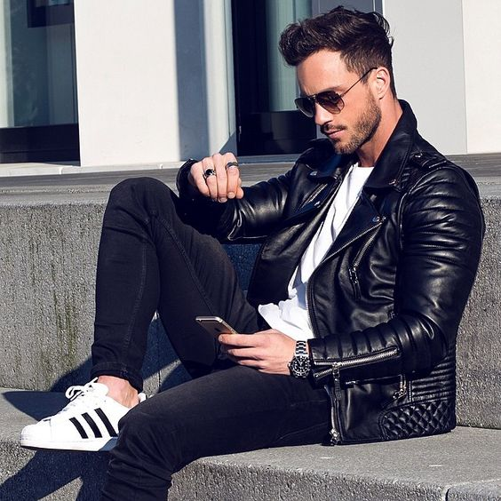 Black Leather Quilted Moto Jacket, Black Skinny Jeans, and White Adidas Sneakers, Men's Fall Winter Fashion.: