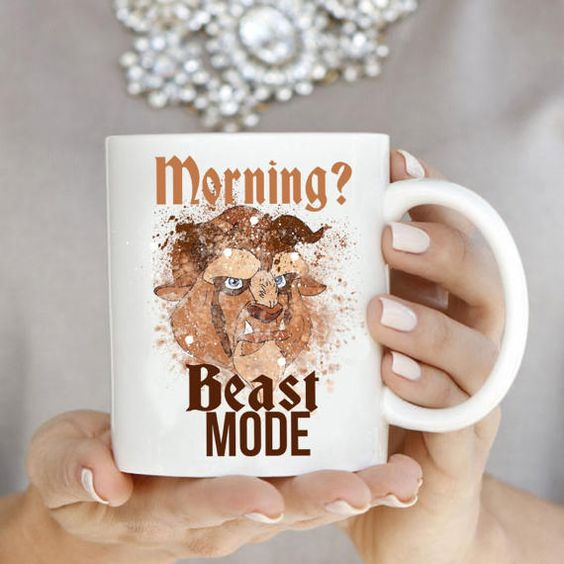 Mornings find you in BEAST MODE? You'll love this Beauty and the Beast themed coffee mug from Etsy.