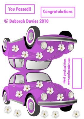 Hippie Herbie You Passed on Craftsuprint designed by Deborah Davies - Lovely lilac flowery herbie car with toppers and text plates. - Now available for download!