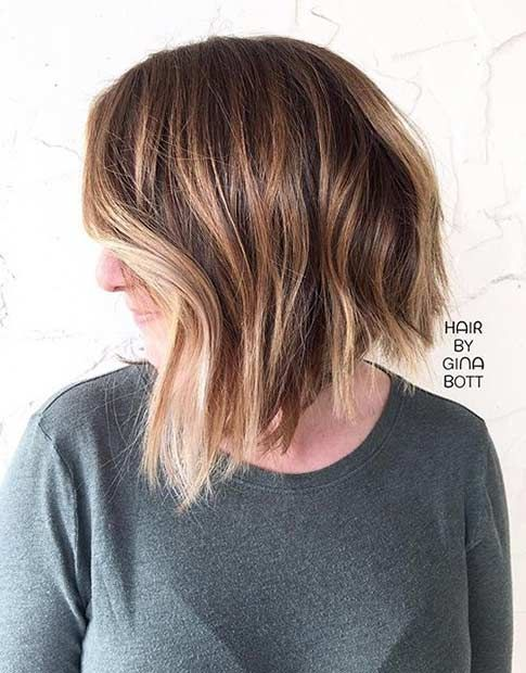 Short Inverted Bob with Balayage Highlights