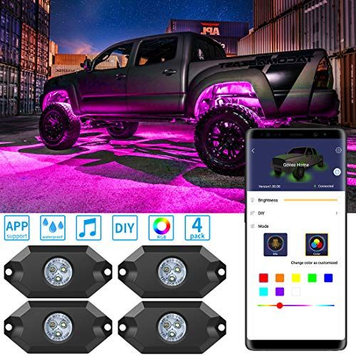 Rgb Led Rock Lights With App Govee 4 Pods App Control Multi Color Neon Lighting Kit For Car Cool Truck Accessories Led Rock Light Truck Interior Accessories