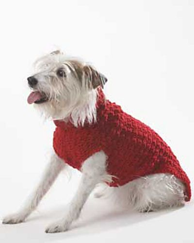 Ravelry: Dog Coat (Crochet) pattern by Bernat Design Studio Sizes:  To fit dog chest measurement  10 (13, 16, 24) in.  25.5 (33, 40.5, 61) cm  Yarn Requirements:  Bernat Super Value  (197 g/7 oz; 389 m/426 yds):  1 (1, 2, 2) ball(s) #00607 Berry