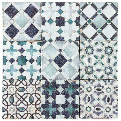 Moroccan Habitat Moroccan Mix Azure 4x4 Custom Tiles Tiles Online Habitats