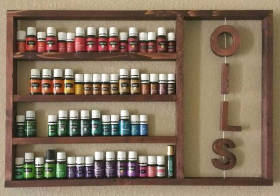 Rustic shelf, Essential Oils Shelf, wood display, beauty storage, oil rack, oil storage, hanging shelf, for Young living and doterra oils