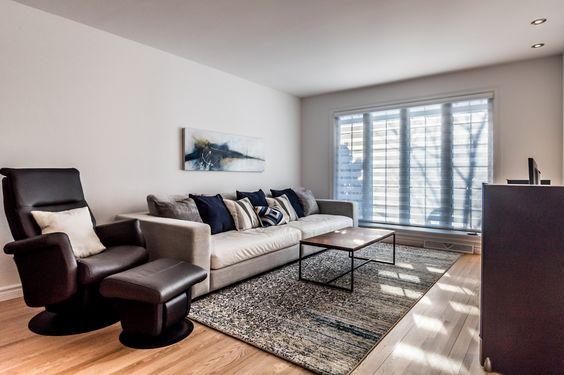 Projet de séjour à Sillery #design #tapis #noyer #art #séjour