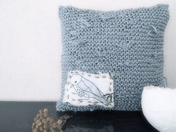 foggy blue knitted pillow with applique- love the texture