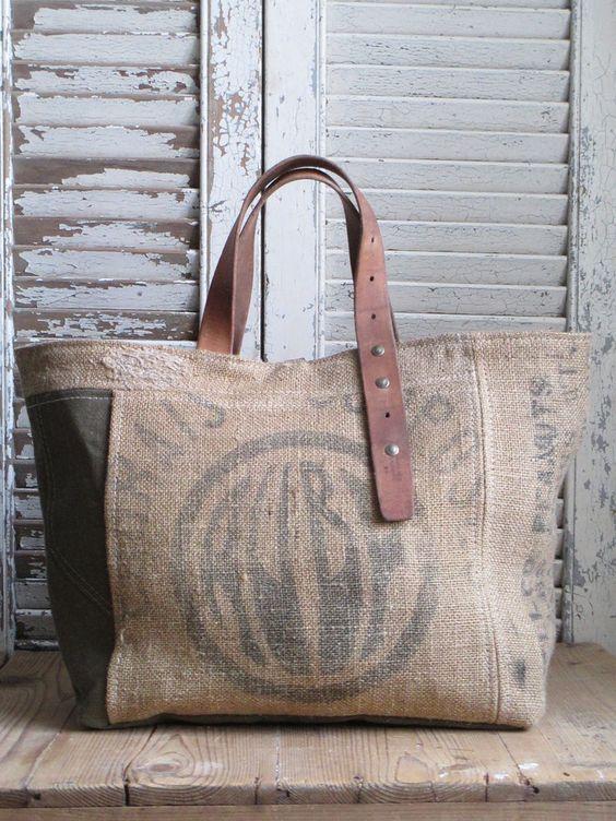 inspiration pour r aliser soi m me son sac en toile de jute diy sac diy pinterest. Black Bedroom Furniture Sets. Home Design Ideas