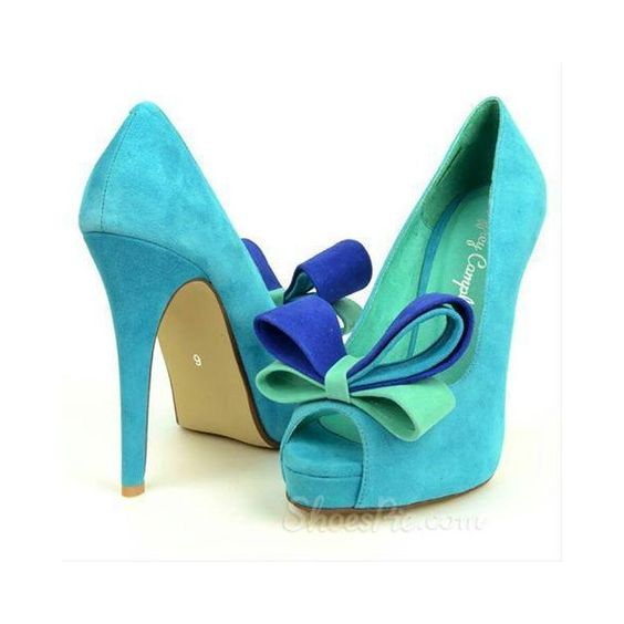 Facy Green Suede Peep Toe Lovely Bowtie High Heel Shoes ($5) ❤ liked on Polyvore