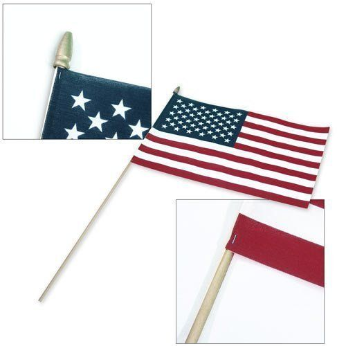"US Stick Flag 12inx18in 30in x 3 8in wood stick - US Made by US Flag Store. $4.93. Topped with a Gold Spear Tip. US Made at Our Factory in Pennsylvania. Low Cost Shipping Available!. Stapled to a 30"" Long, 3/8"" Diameter Wooden Stick. 12"" x 18"" Flag with Sewn Edges. Our US stick flags with 30"" sticks are best for planting the flags in the ground. Flags with 24"" sticks are often too short, and the flag may touch the ground. This US hand flag is suitable for veterans ..."