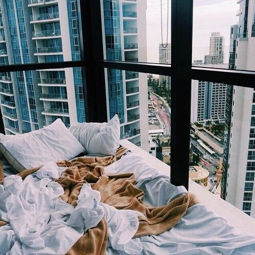 city, white and bed interior photo