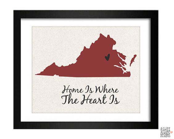 Virginia State Art Print  Custom 8x10 by AshleeAlaineDesigns, $15.00
