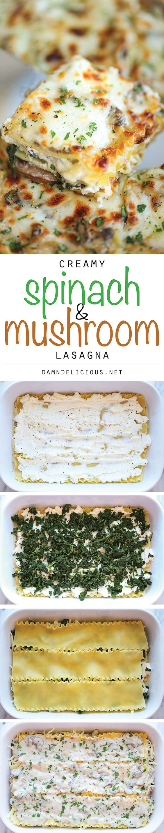 Creamy Spinach and Mushroom Lasagna - This is sure to become a family favorite. Best of all, it's freezer-friendly and can also be made ahead of time! (Italian pasta recipe, meatless recipes)