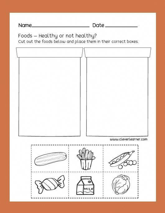Free Preschool Science Worksheets Healthy Unhealthy Foods