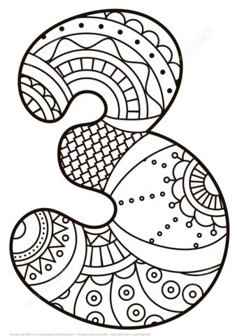 Number 3 Zentangle coloring page from Zentangle Numbers category ...