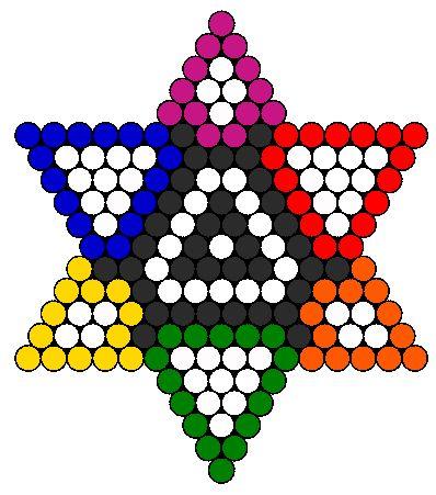 Rainbow 6 pointed star perler bead pattern