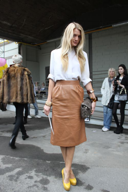 Leather Camel Skirt