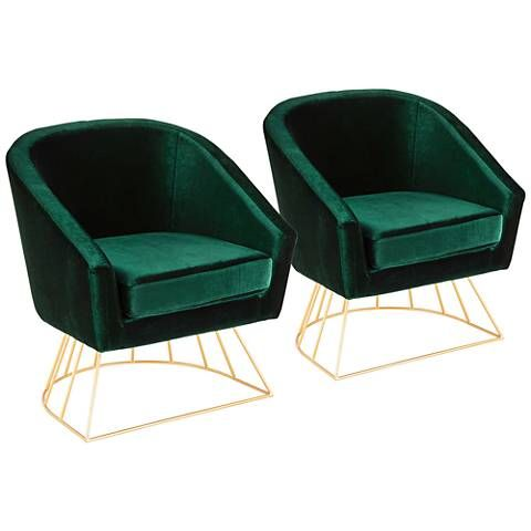 Canary Emerald Green Velvet Accent Chair 60g29 Lamps Plus