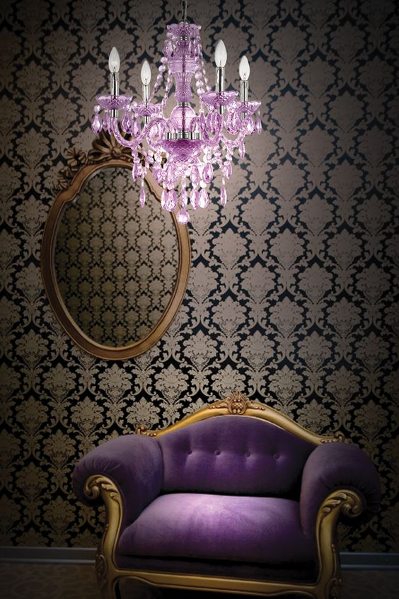 purple mini chandelier GORGEOUS chair!!