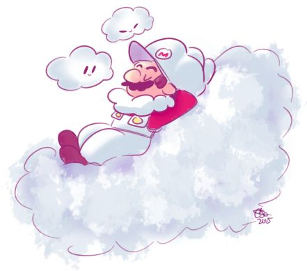Cloud Mario with two clouds with him.