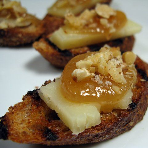Great appetizer, fresh bread, apple butter and manchego cheese. Goes great with Moscato wine too.