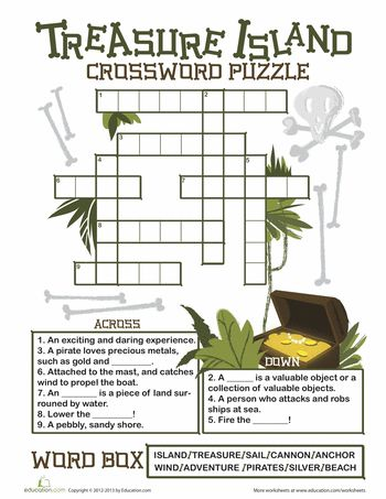 Worksheets: Treasure Island Crossword Puzzle